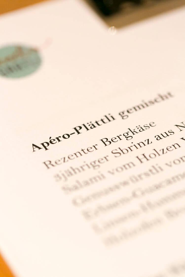 Apero Plättli im Restaurant Vrenelis Gärtli, Schlüssel Luzern