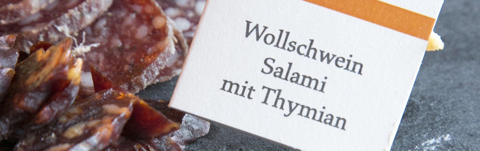 Wollschweinsalami im Restaurant Vrenelis Gärtli im Schlüssel Luzern